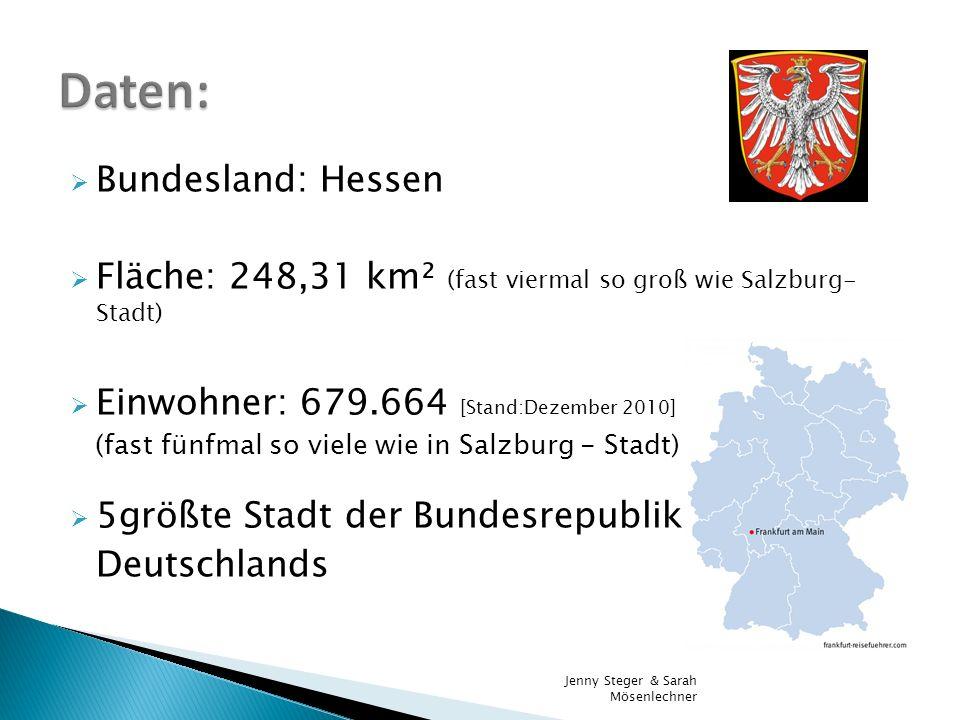 Bundesland: Hessen Fläche: 248,31 km² (fast viermal so groß wie Salzburg- Stadt) Einwohner: 679.664 [Stand:Dezember 2010] (fast fünfmal so viele wie i