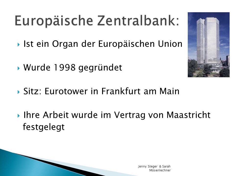 Ist ein Organ der Europäischen Union Wurde 1998 gegründet Sitz: Eurotower in Frankfurt am Main Ihre Arbeit wurde im Vertrag von Maastricht festgelegt