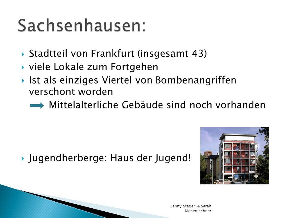 Stadtteil von Frankfurt (insgesamt 43) viele Lokale zum Fortgehen Ist als einziges Viertel von Bombenangriffen verschont worden Mittelalterliche Gebäu