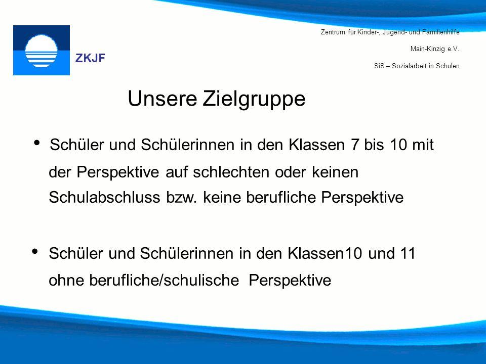 Zentrum für Kinder-, Jugend- und Familienhilfe Main-Kinzig e.V. SiS – Sozialarbeit in Schulen ZKJF Unsere Zielgruppe Schüler und Schülerinnen in den K