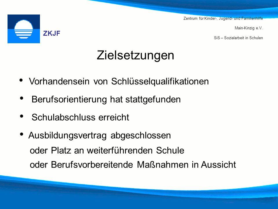 Zentrum für Kinder-, Jugend- und Familienhilfe Main-Kinzig e.V. SiS – Sozialarbeit in Schulen ZKJF Zielsetzungen Vorhandensein von Schlüsselqualifikat