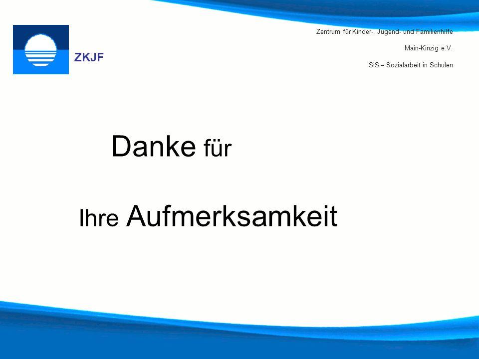 Zentrum für Kinder-, Jugend- und Familienhilfe Main-Kinzig e.V. SiS – Sozialarbeit in Schulen ZKJF Danke für Ihre Aufmerksamkeit