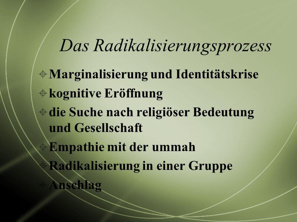 Das Radikalisierungsprozess Marginalisierung und Identitätskrise kognitive Eröffnung die Suche nach religiöser Bedeutung und Gesellschaft Empathie mit
