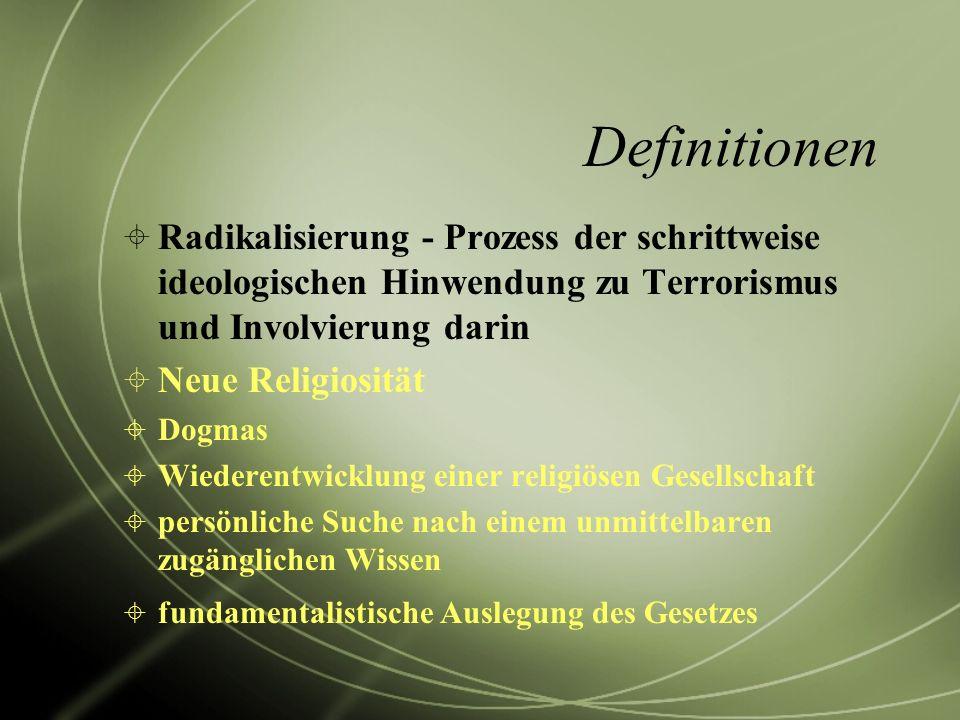 Definitionen Radikalisierung - Prozess der schrittweise ideologischen Hinwendung zu Terrorismus und Involvierung darin Neue Religiosität Dogmas Wieder