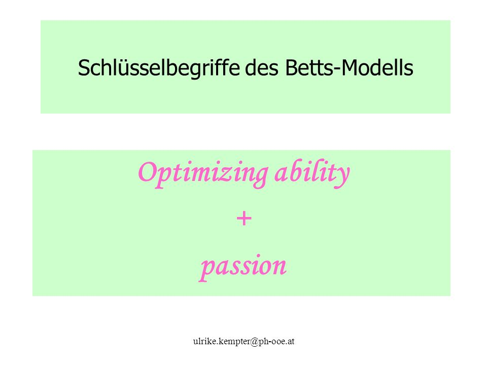 ulrike.kempter@ph-ooe.at Schlüsselbegriffe des Betts-Modells Optimizing ability + passion