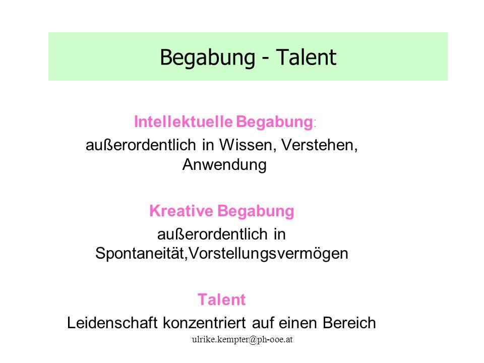 ulrike.kempter@ph-ooe.at Begabung - Talent Intellektuelle Begabung : außerordentlich in Wissen, Verstehen, Anwendung Kreative Begabung außerordentlich in Spontaneität,Vorstellungsvermögen Talent Leidenschaft konzentriert auf einen Bereich