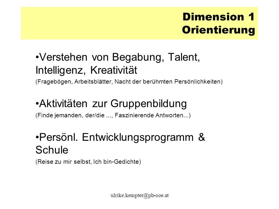 Dimension 1 Orientierung Verstehen von Begabung, Talent, Intelligenz, Kreativität (Fragebögen, Arbeitsblätter, Nacht der berühmten Persönlichkeiten) A