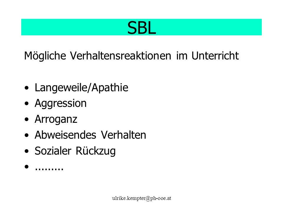 ulrike.kempter@ph-ooe.at SBL Mögliche Verhaltensreaktionen im Unterricht Langeweile/Apathie Aggression Arroganz Abweisendes Verhalten Sozialer Rückzug