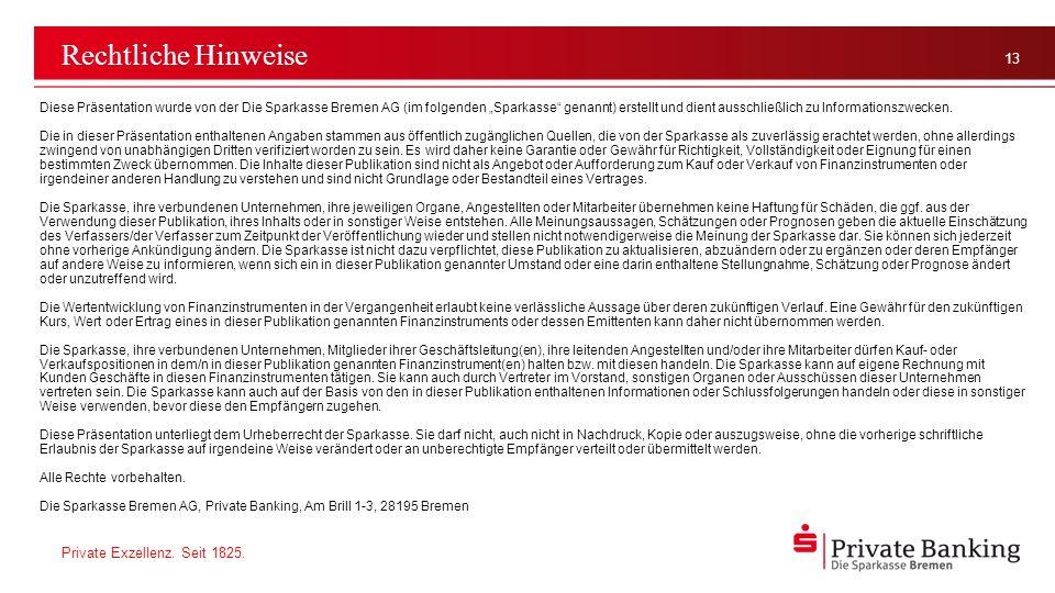 Private Exzellenz. Seit 1825. 13 Rechtliche Hinweise Diese Präsentation wurde von der Die Sparkasse Bremen AG (im folgenden Sparkasse genannt) erstell