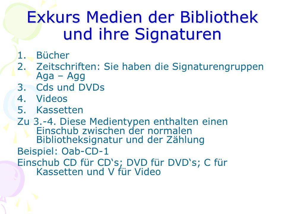 Exkurs Medien der Bibliothek und ihre Signaturen 1.Bücher 2.Zeitschriften: Sie haben die Signaturengruppen Aga – Agg 3.Cds und DVDs 4.Videos 5.Kassett