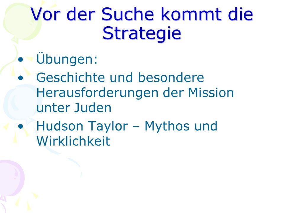 Vor der Suche kommt die Strategie Übungen: Geschichte und besondere Herausforderungen der Mission unter Juden Hudson Taylor – Mythos und Wirklichkeit
