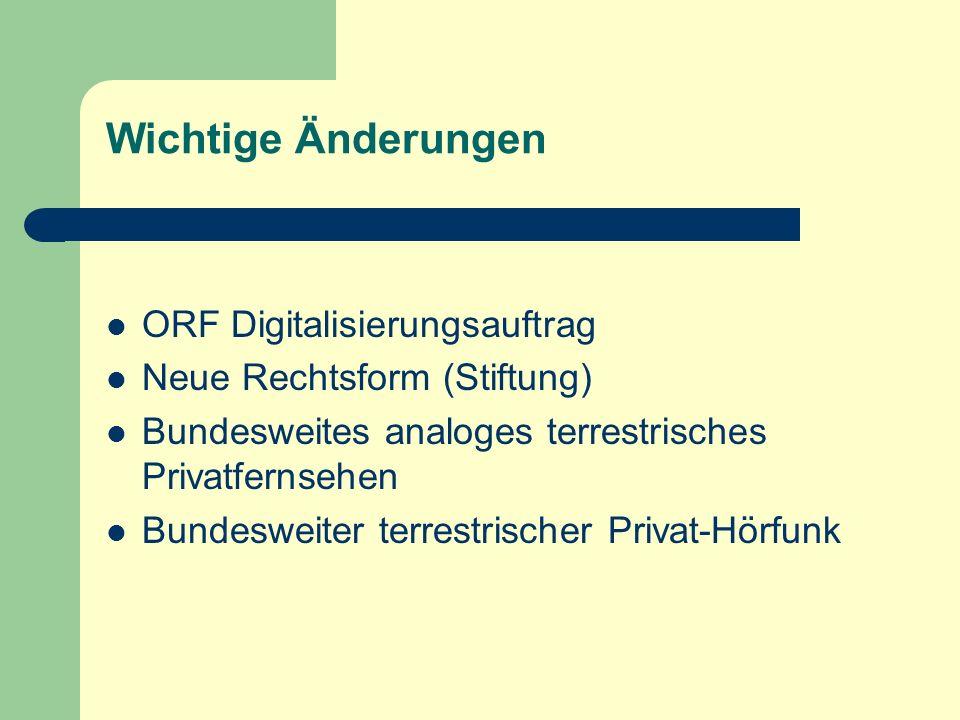 Wichtige Änderungen ORF Digitalisierungsauftrag Neue Rechtsform (Stiftung) Bundesweites analoges terrestrisches Privatfernsehen Bundesweiter terrestri