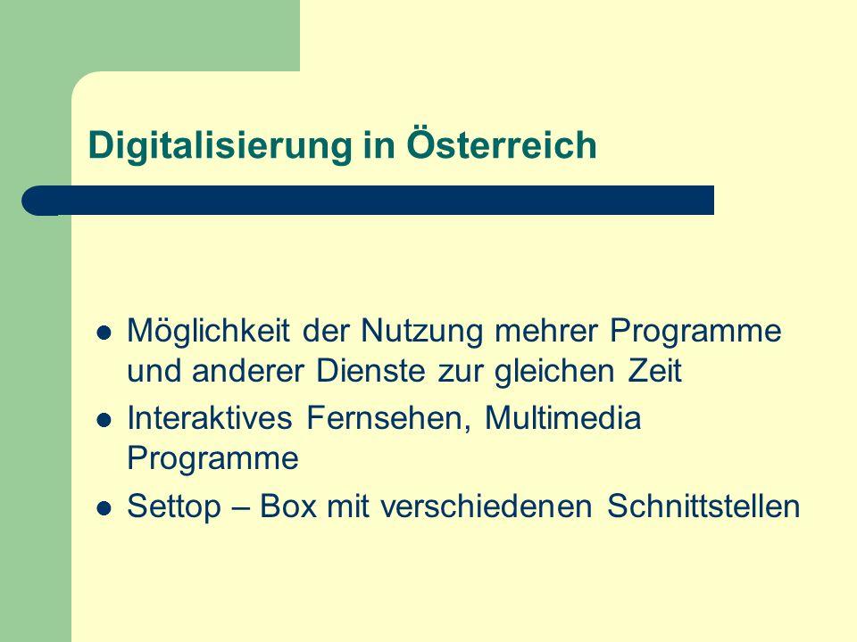 Digitalisierung in Österreich Möglichkeit der Nutzung mehrer Programme und anderer Dienste zur gleichen Zeit Interaktives Fernsehen, Multimedia Progra