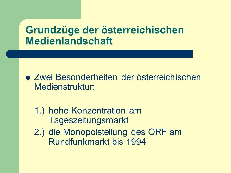 Grundzüge der österreichischen Medienlandschaft Zwei Besonderheiten der österreichischen Medienstruktur: 1.) hohe Konzentration am Tageszeitungsmarkt