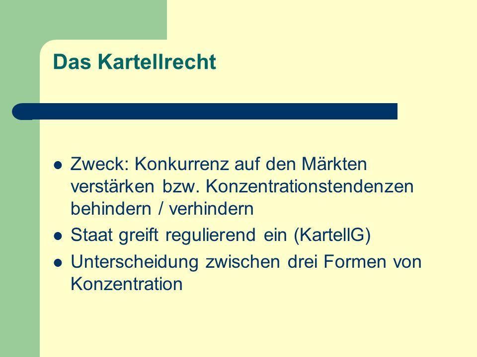 Das Kartellrecht Zweck: Konkurrenz auf den Märkten verstärken bzw. Konzentrationstendenzen behindern / verhindern Staat greift regulierend ein (Kartel