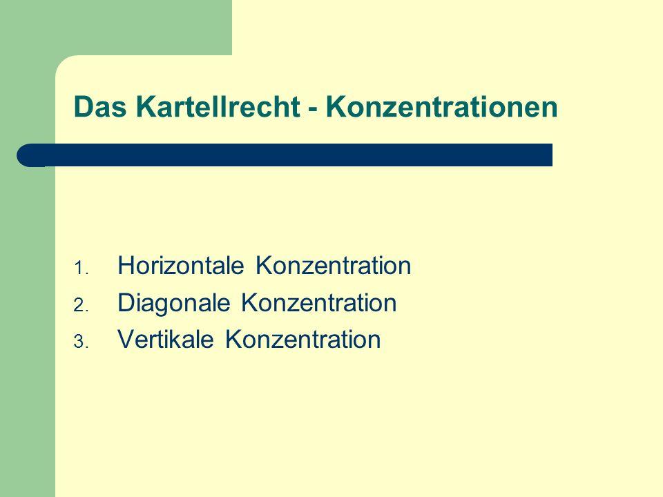 Das Kartellrecht - Konzentrationen 1. Horizontale Konzentration 2. Diagonale Konzentration 3. Vertikale Konzentration