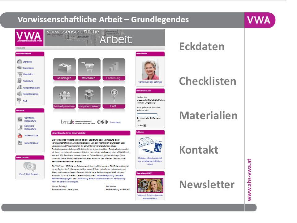 Vorwissenschaftliche Arbeit – Grundlegendes http://www.vwa.at/w 20 Eckdaten Checklisten Materialien Kontakt Newsletter