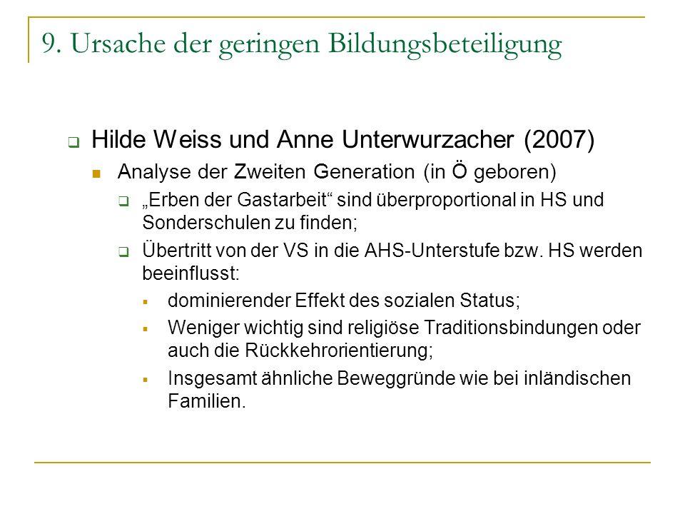 9. Ursache der geringen Bildungsbeteiligung Hilde Weiss und Anne Unterwurzacher (2007) Analyse der Zweiten Generation (in Ö geboren) Erben der Gastarb