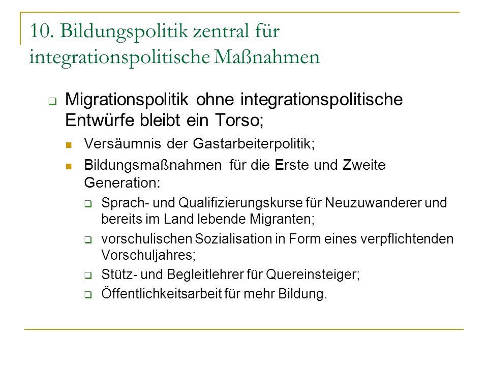 10. Bildungspolitik zentral für integrationspolitische Maßnahmen Migrationspolitik ohne integrationspolitische Entwürfe bleibt ein Torso; Versäumnis d