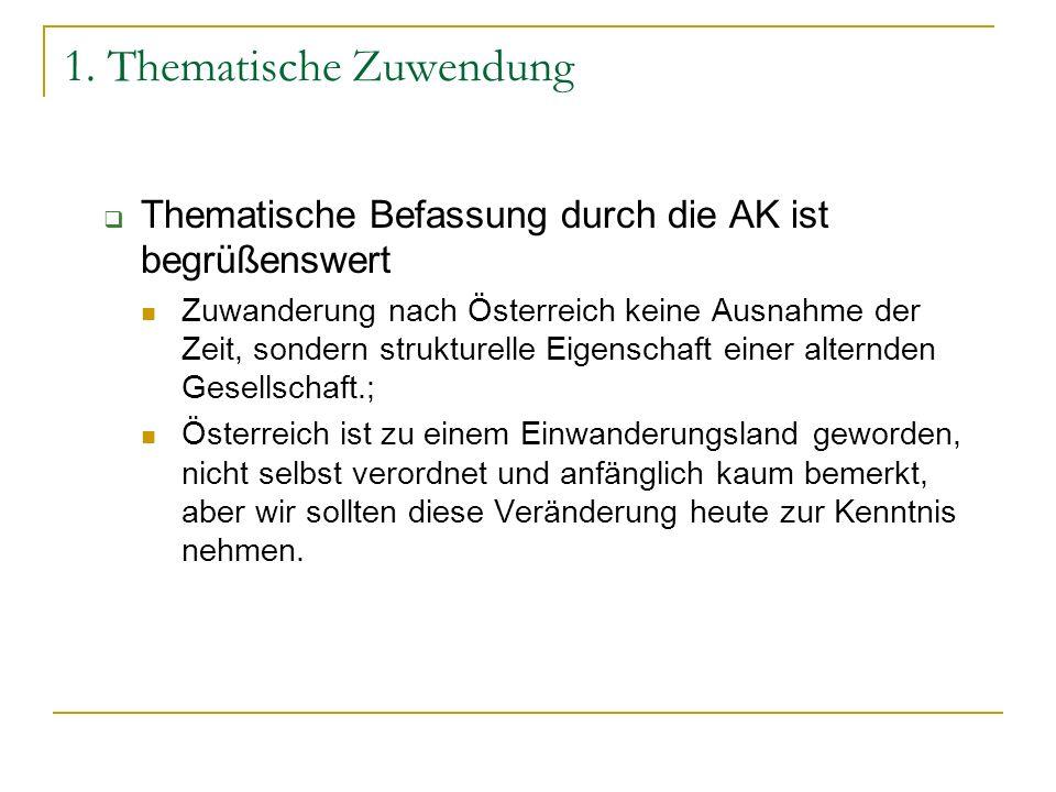 1. Thematische Zuwendung Thematische Befassung durch die AK ist begrüßenswert Zuwanderung nach Österreich keine Ausnahme der Zeit, sondern strukturell