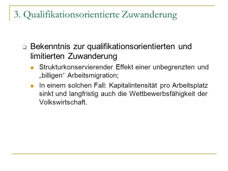 3. Qualifikationsorientierte Zuwanderung Bekenntnis zur qualifikationsorientierten und limitierten Zuwanderung Strukturkonservierender Effekt einer un