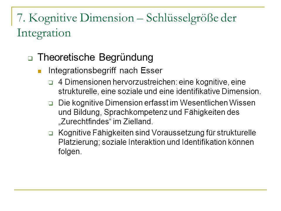 7. Kognitive Dimension – Schlüsselgröße der Integration Theoretische Begründung Integrationsbegriff nach Esser 4 Dimensionen hervorzustreichen: eine k