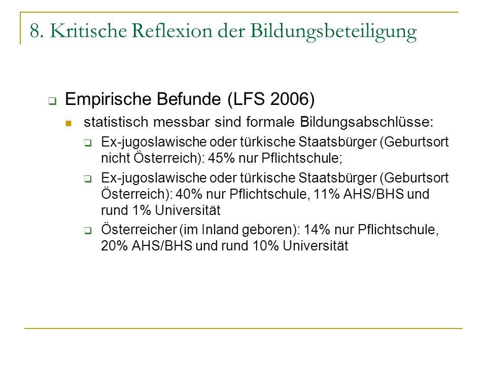 8. Kritische Reflexion der Bildungsbeteiligung Empirische Befunde (LFS 2006) statistisch messbar sind formale Bildungsabschlüsse: Ex-jugoslawische ode