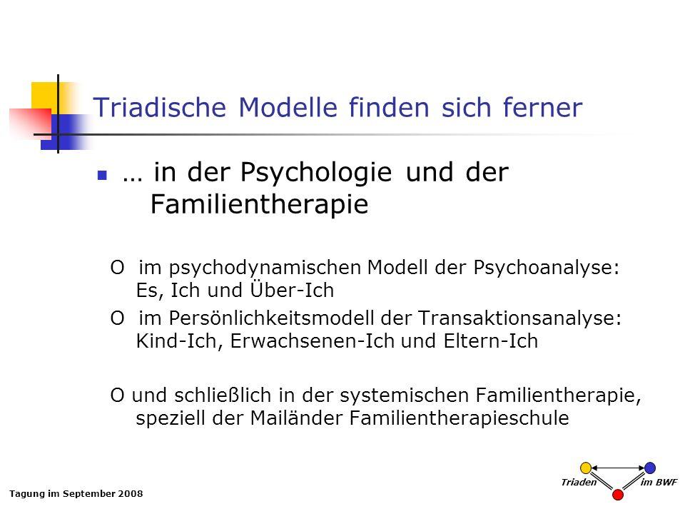 Tagung im September 2008 Triaden im BWF Triadische Modelle finden sich ferner … in der Psychologie und der Familientherapie O im psychodynamischen Mod