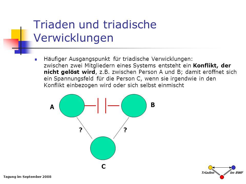 Tagung im September 2008 Triaden im BWF Triaden und triadische Verwicklungen Häufiger Ausgangspunkt für triadische Verwicklungen: zwischen zwei Mitgli