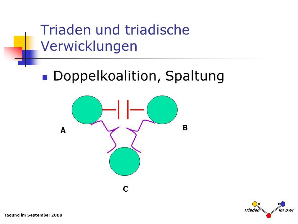 Tagung im September 2008 Triaden im BWF Triaden und triadische Verwicklungen Doppelkoalition, Spaltung A B C