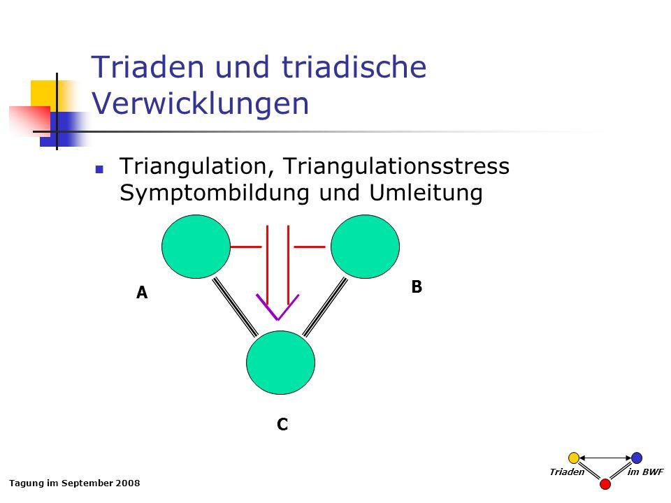 Tagung im September 2008 Triaden im BWF Triaden und triadische Verwicklungen Triangulation, Triangulationsstress Symptombildung und Umleitung A B C