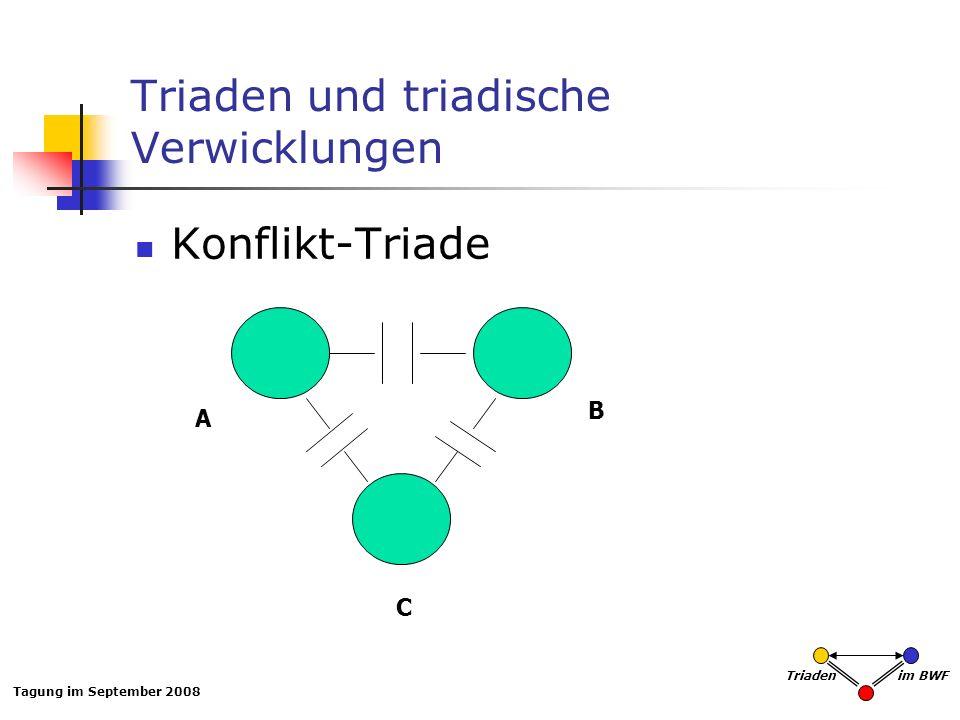 Tagung im September 2008 Triaden im BWF Triaden und triadische Verwicklungen Konflikt-Triade A B C