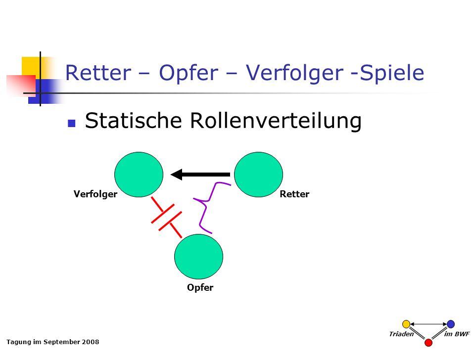Tagung im September 2008 Triaden im BWF Retter – Opfer – Verfolger -Spiele Statische Rollenverteilung VerfolgerRetter Opfer