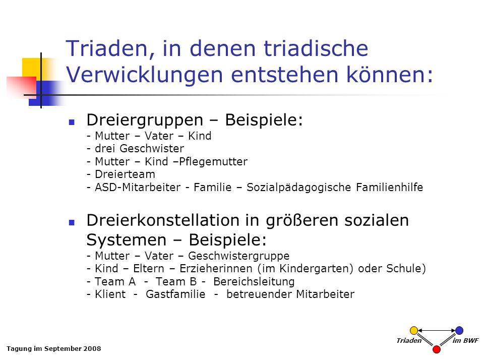 Tagung im September 2008 Triaden im BWF Triaden, in denen triadische Verwicklungen entstehen können: Dreiergruppen – Beispiele: - Mutter – Vater – Kin