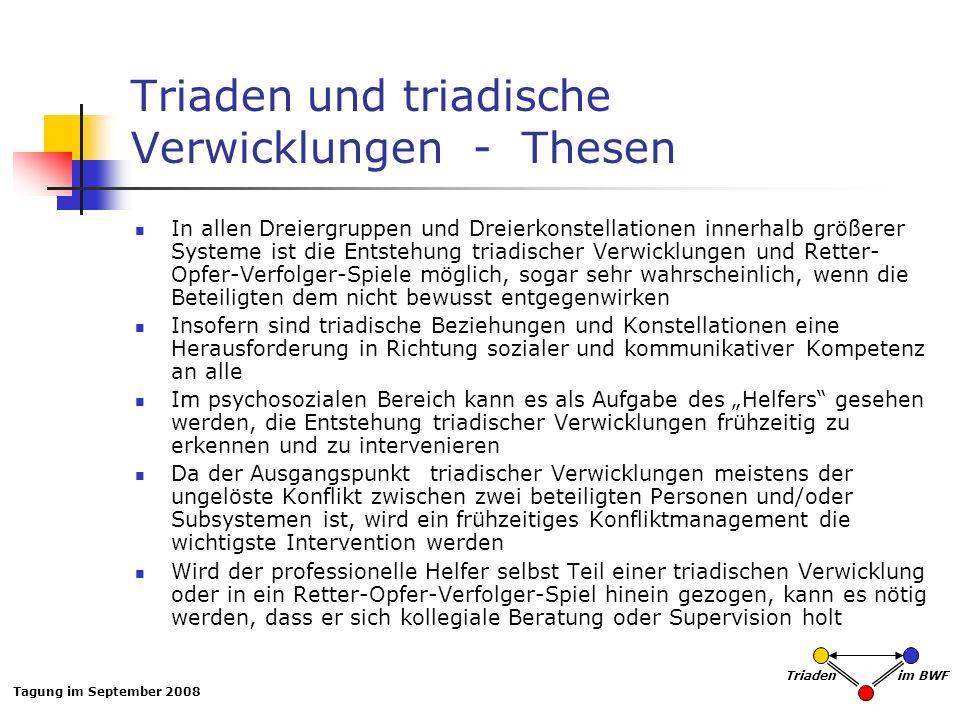 Tagung im September 2008 Triaden im BWF Triaden und triadische Verwicklungen - Thesen In allen Dreiergruppen und Dreierkonstellationen innerhalb größe