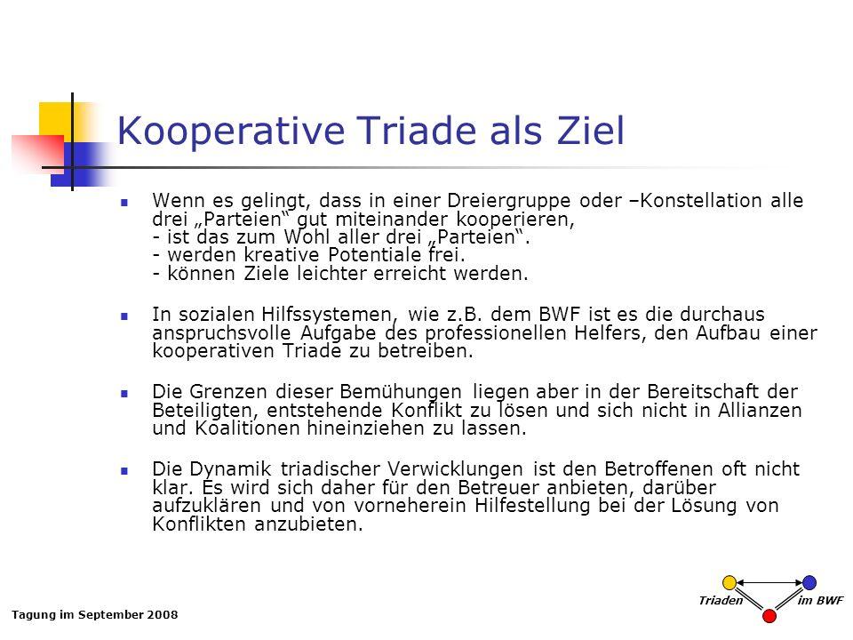 Tagung im September 2008 Triaden im BWF Kooperative Triade als Ziel Wenn es gelingt, dass in einer Dreiergruppe oder –Konstellation alle drei Parteien gut miteinander kooperieren, - ist das zum Wohl aller drei Parteien.