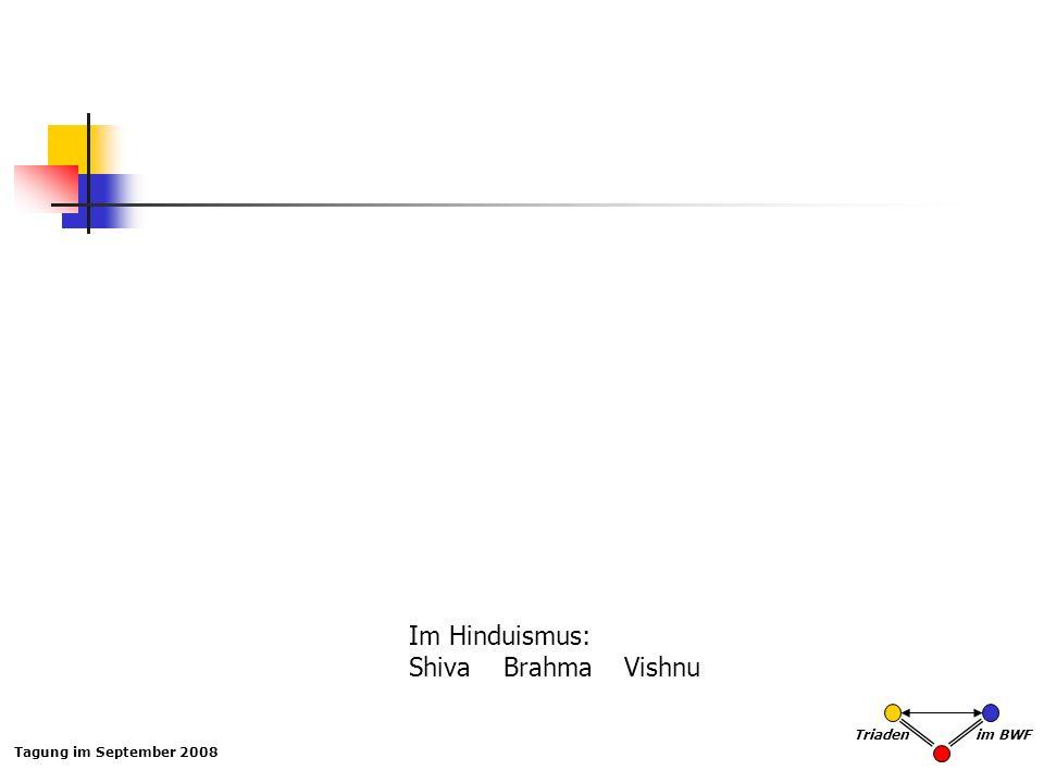 Tagung im September 2008 Triaden im BWF Im Hinduismus: Shiva Brahma Vishnu