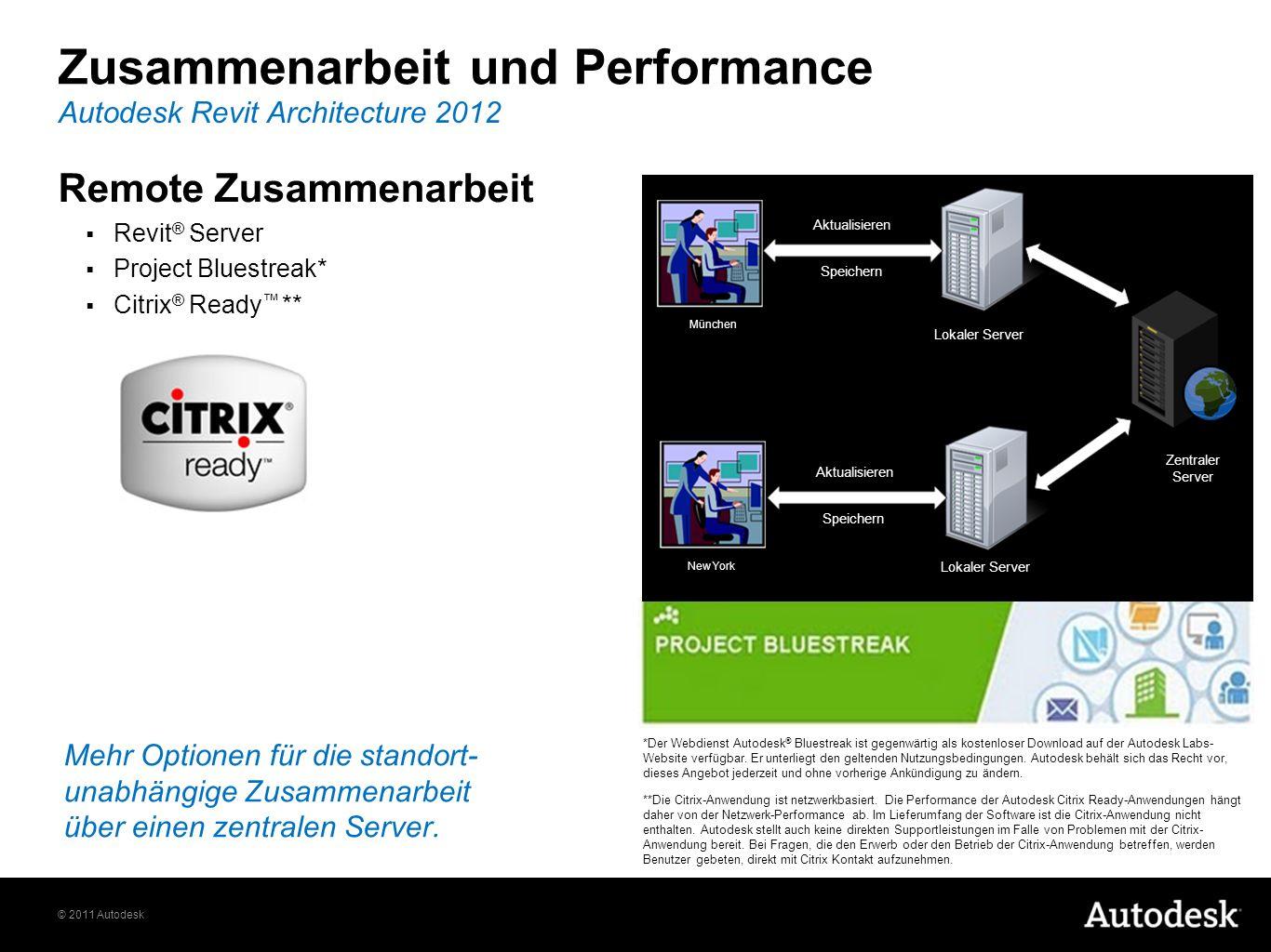 © 2011 Autodesk Remote Zusammenarbeit Revit ® Server Project Bluestreak* Citrix ® Ready ** Autodesk Revit Architecture 2012 Zusammenarbeit und Performance Mehr Optionen für die standort- unabhängige Zusammenarbeit über einen zentralen Server.