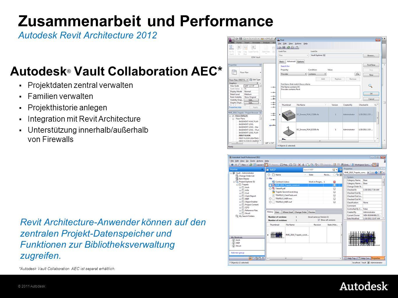 © 2011 Autodesk Zusammenarbeit und Performance Autodesk ® Vault Collaboration AEC* Projektdaten zentral verwalten Familien verwalten Projekthistorie anlegen Integration mit Revit Architecture Unterstützung innerhalb/außerhalb von Firewalls Autodesk Revit Architecture 2012 *Autodesk Vault Collaboration AEC ist separat erhältlich.