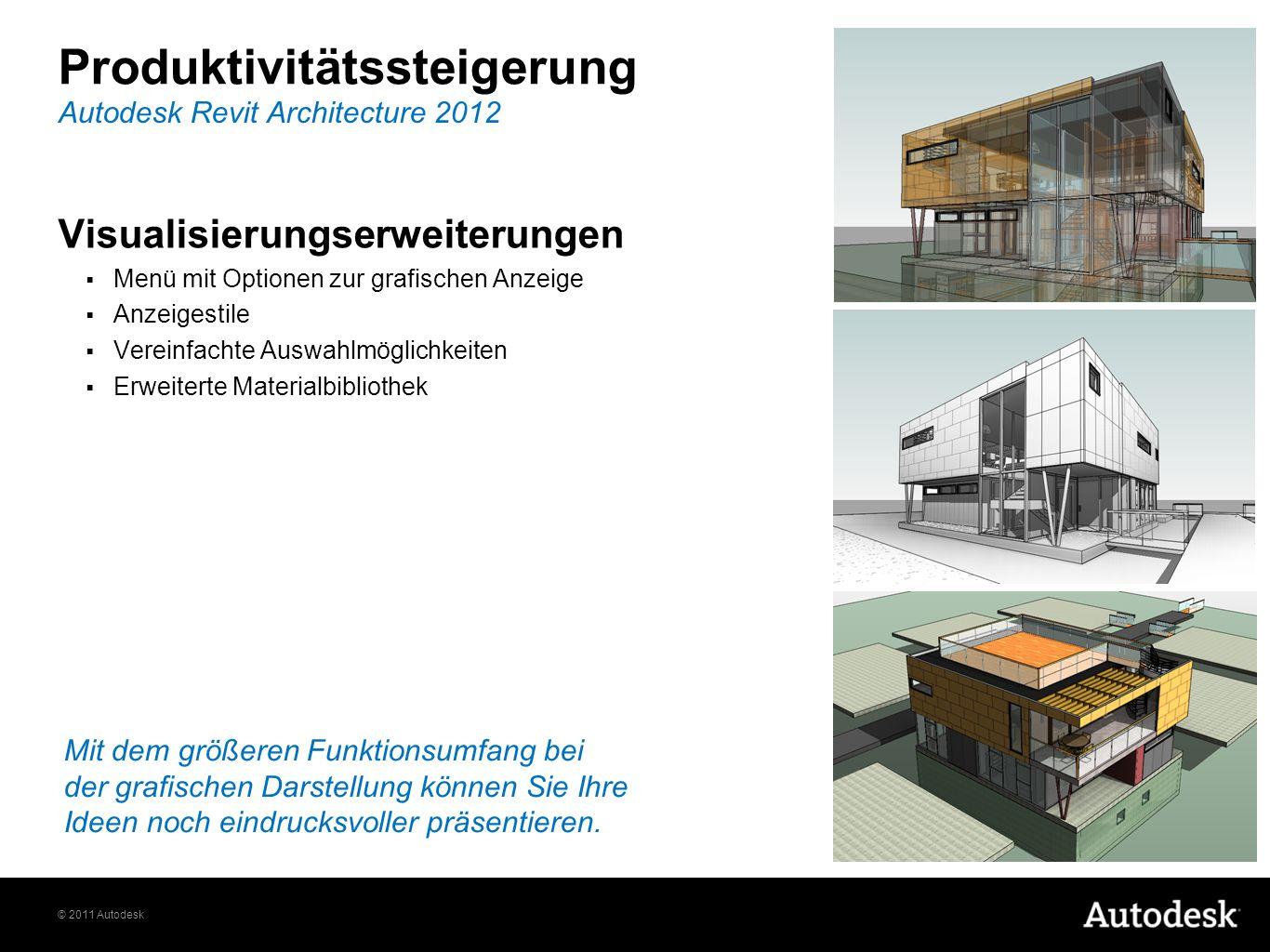 © 2011 Autodesk Produktivitätssteigerung Visualisierungserweiterungen Menü mit Optionen zur grafischen Anzeige Anzeigestile Vereinfachte Auswahlmöglic