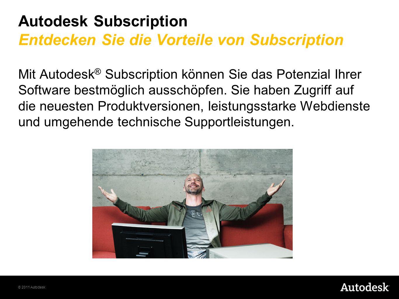 © 2011 Autodesk Autodesk Subscription Entdecken Sie die Vorteile von Subscription Mit Autodesk ® Subscription können Sie das Potenzial Ihrer Software bestmöglich ausschöpfen.