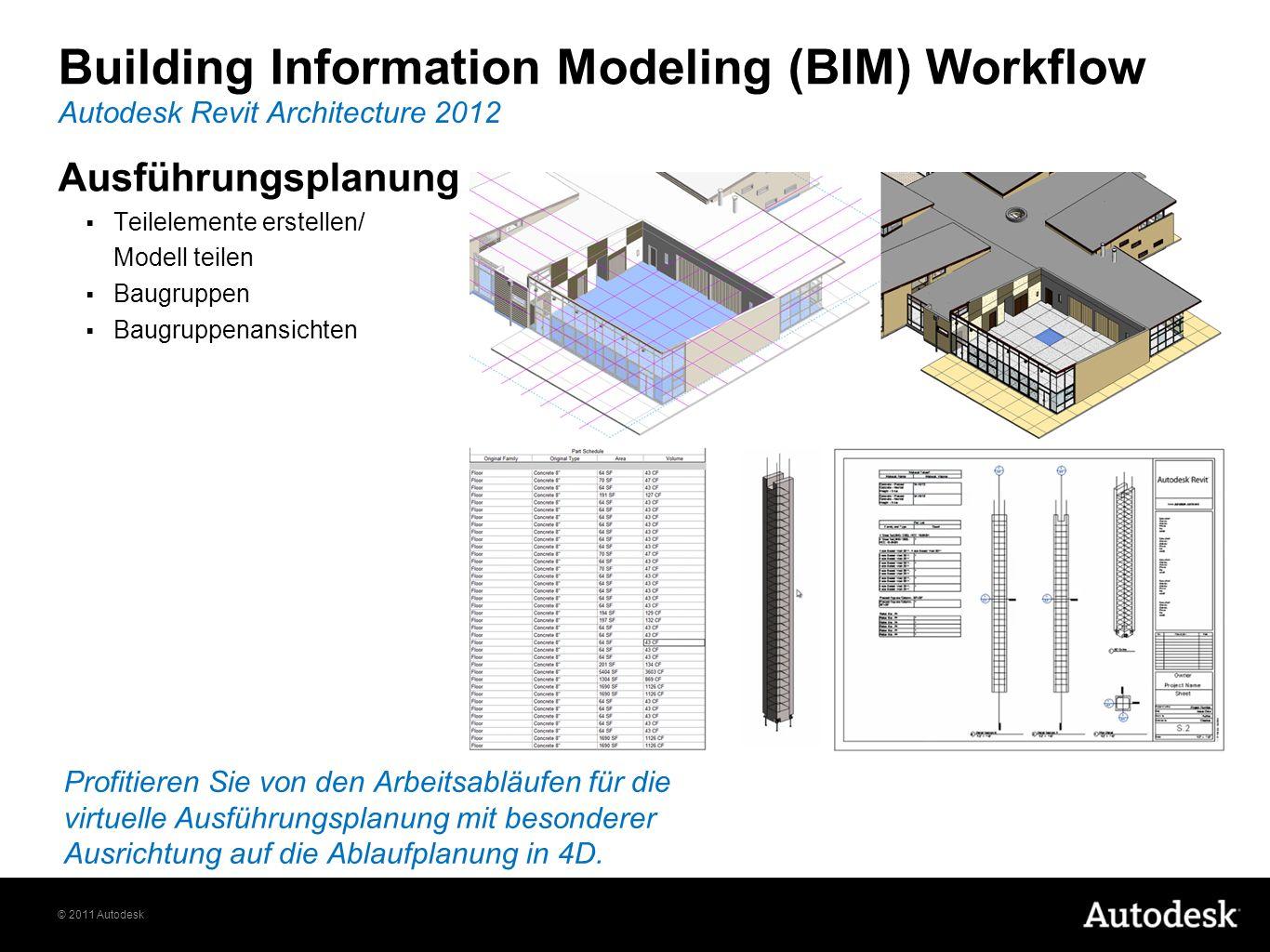 © 2011 Autodesk Ausführungsplanung Teilelemente erstellen/ Modell teilen Baugruppen Baugruppenansichten Autodesk Revit Architecture 2012 Building Information Modeling (BIM) Workflow Profitieren Sie von den Arbeitsabläufen für die virtuelle Ausführungsplanung mit besonderer Ausrichtung auf die Ablaufplanung in 4D.
