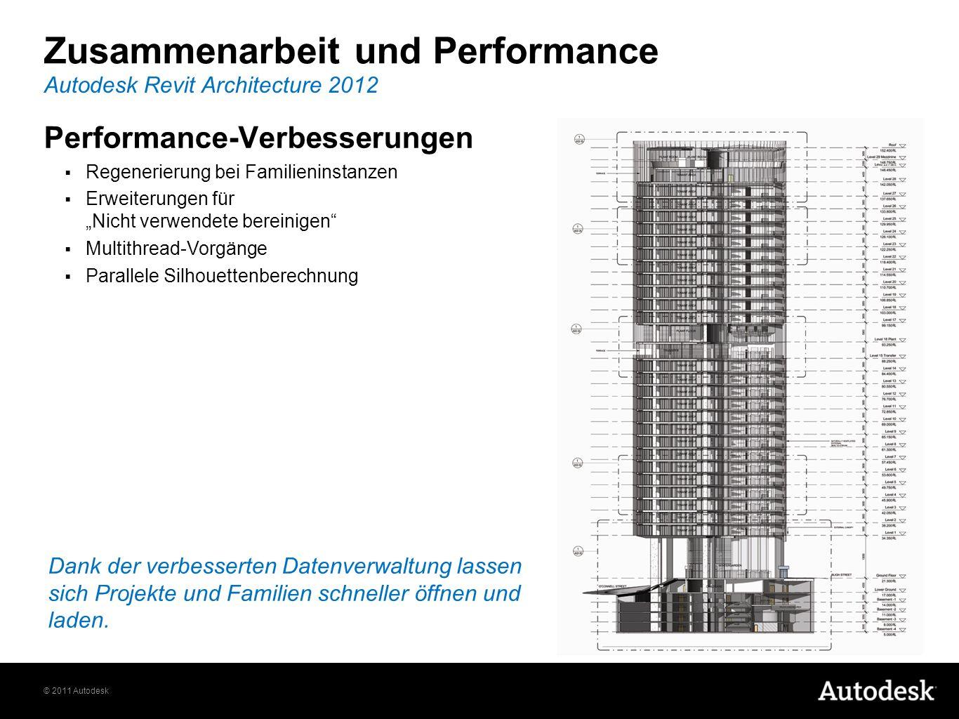 © 2011 Autodesk Zusammenarbeit und Performance Autodesk Revit Architecture 2012 Performance-Verbesserungen Regenerierung bei Familieninstanzen Erweite