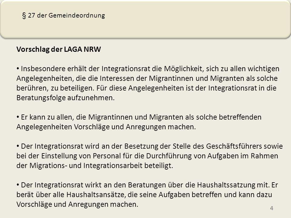 Vorschlag der LAGA NRW Insbesondere erhält der Integrationsrat die Möglichkeit, sich zu allen wichtigen Angelegenheiten, die die Interessen der Migrantinnen und Migranten als solche berühren, zu beteiligen.
