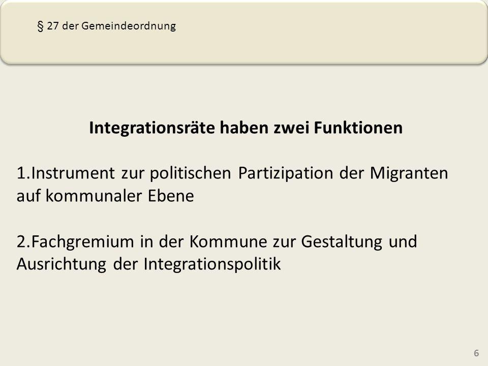 Integrationsräte haben zwei Funktionen 1.Instrument zur politischen Partizipation der Migranten auf kommunaler Ebene 2.Fachgremium in der Kommune zur Gestaltung und Ausrichtung der Integrationspolitik 6 § 27 der Gemeindeordnung
