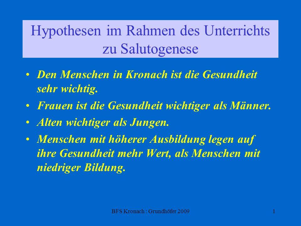 BFS Kronach : Grundhöfer 20091 Hypothesen im Rahmen des Unterrichts zu Salutogenese Den Menschen in Kronach ist die Gesundheit sehr wichtig. Frauen is