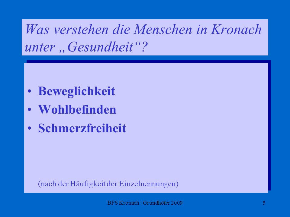 BFS Kronach : Grundhöfer 20095 Was verstehen die Menschen in Kronach unter Gesundheit? Beweglichkeit Wohlbefinden Schmerzfreiheit (nach der Häufigkeit