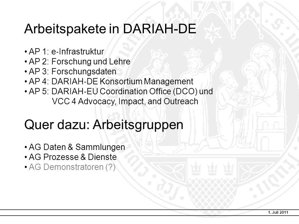 Arbeitspakete in DARIAH-DE AP 1: e Infrastruktur AP 2: Forschung und Lehre AP 3: Forschungsdaten AP 4: DARIAH DE Konsortium Management AP 5: DARIAH EU Coordination Office (DCO) und VCC 4 Advocacy, Impact, and Outreach Quer dazu: Arbeitsgruppen AG Daten & Sammlungen AG Prozesse & Dienste AG Demonstratoren ( ) 1.