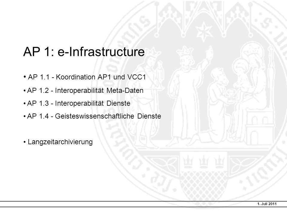 AP 1: e-Infrastructure AP 1.1 - Koordination AP1 und VCC1 AP 1.2 - Interoperabilität Meta-Daten AP 1.3 - Interoperabilität Dienste AP 1.4 - Geisteswissenschaftliche Dienste Langzeitarchivierung 1.