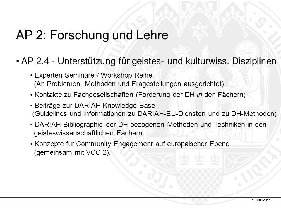 AP 2: Forschung und Lehre AP 2.4 - Unterstützung für geistes- und kulturwiss.